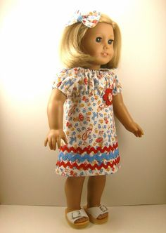 American Girl Doll Clothes Red and Blue Peasant by dressurdolly2, $17.00