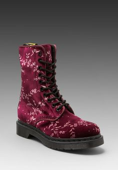 DR. MARTENS Avery 10-Eye Boot DLS in Cherry Red Floral at Revolve Clothing