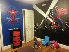 Spiderman graphics and talented parents designing for a big boys bedroom ~ ♥ mommy & daddy