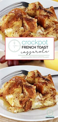 Great for a quick and easy breakfast and perfect for the holidays! This Crockpot French Toast Casserole Recipe is delicious to wake up to!