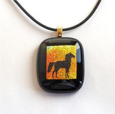Fused Glass Pendant Necklace Black Horse by GreenhouseGlassworks