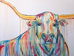 Original Longhorn 30x40 Painting by Jennifer by JenniferMoreman