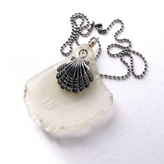 """Large Sea Glass Bottle Bottom Pendant Embossed with a 15 on a Stainless Steel Chain 20"""" #scallop #seaglass #recycleparty #stainlesssteel #ballchain #sterling #fifteen #pendant #mermaidtears"""