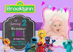 Sesame Street Birthday Party Invitation Invite Girl Girly Pink Purple Chalkboard Elmo Big Bird Grover Cookie Monster Gloria Zoe Oscar the Grouch