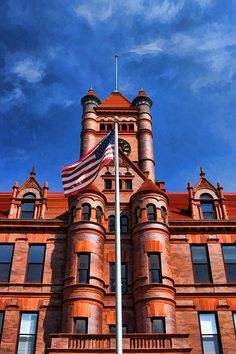 Painting - Old Dupage County Courthouse Flag Poster by Christopher Arndt , Wheaton Illinois, Chicago Loop, Romanesque Architecture, Cool Business Cards, Condominium, The Neighbourhood, Around The Worlds, Exterior, Flag