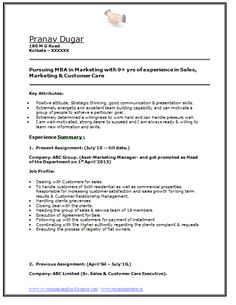 Sample Template of an MBA in Marketing with 2 + Year of Experience along with Job Profile and Career Objective, Professional Curriculum Vitae with Free Download in Word Doc / PDF (2 Page Resume) (Click Read More for Viewing and Downloading the Sample)  ~~~~ Download as many CV's for MBA, CA, CS, Engineer, Fresher, Experienced etc / Do Like us on Facebook for all Future Updates ~~~~