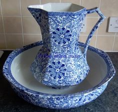 WASH JUG & BOWL in the CHUNG pattern FREDERICK RHEAD for WOOD & SONS conley