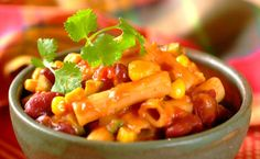 Spicy Mexican Pasta with Beans and Corn Recipe Mexican Pasta Recipes, Corn Recipes, Vegetarian Recipes, Dinner Recipes, Recipies, Romantic Meals, Romantic Recipes, Rigatoni, Pasta Dishes