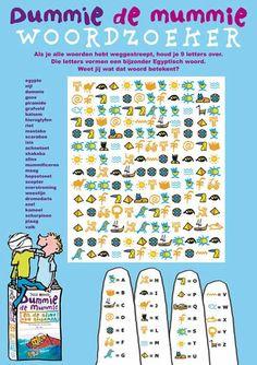 Doe de Dummie de mummie woordzoeker. Puzzelen met Dummie-hiërogliefen: vind het woord dat overblijft. Klik op de afbeelding om de afbeelding te downloaden.