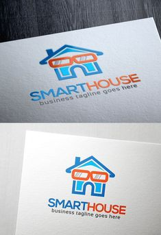 Smart House logo is a house with an eyeglasses as a sign for a smart one. Suited for house automation business or others that related. Bm Logo, Smart House, Property Design, Edit Text, Text Fonts, Home Automation, The Help, Graphic Design, Logos