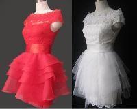Wholesale Red White Wedding Dresses A Line Lace Off The Shouler Little Short Wedding Dress Rffled Ribbon