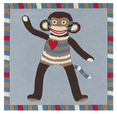 Sock Monkey Rug For Nursery Or Toddler Room By Colourful Kids Clearance Rugs