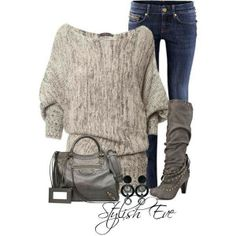 Another sweater winner! Sexy for a casual date night- Stylish eve Grey Fashion, I Love Fashion, Passion For Fashion, Winter Fashion, Womens Fashion, Fashion Sets, Fashion 2014, Fall Outfits, Casual Outfits