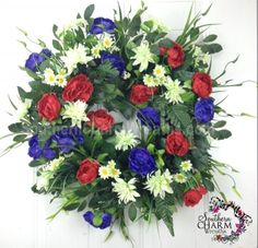 NOW on SALE $119 Patriotic Summer Door Wreath Red White Blue July 4th Artificial Wreath #july4th