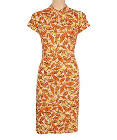 Look at this #zulilyfind! Carrot Orange Panama Sheath Dress #zulilyfinds