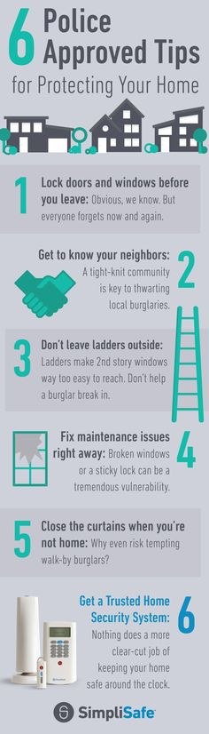 Keep your home totally safe with these 6 Tips. For #6, police especially recommend SimpliSafe Home Security. Some police forces even use it to bust criminals! Its a brilliant and easy-to-use DIY home security system. Plus, it saves you hundreds every yea