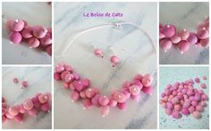 collier rose atome (polymer clay beads)