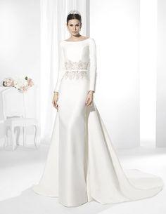 Vestidos de novia línea clásica confeccionado en Raso Natural.