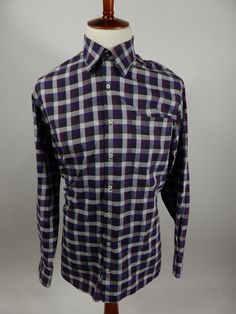 Peter Millar Long Sleeve Button Front Purple Check Shirt MF12W96 Men Large L #PeterMillar #ButtonFront