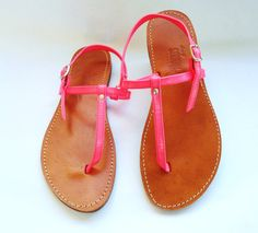 CLEARANCE SALE - Window Display Pairs- Greek Sandals Fluo Pink via Etsy