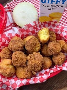 It's a great day to learn how to make Jiffy Cornbread Hush Puppies, and it's a quick and easy recipe that is perfect for barbecues, parties, and potlucks. Seafood Recipes, Appetizer Recipes, Cooking Recipes, Appetizers, Jiffy Cornbread Recipes, Jiffy Mix Recipes, Cornmeal Recipes, Ritz Chicken Casserole, Recipe Creator
