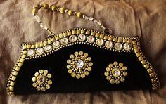 Indian Handmade black velvet wedding clutch bag by Indianroute, $25.00