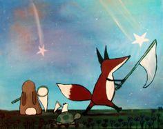 Catching Stars Woodland Animals Kids Wall Art Nursery by andralynn, $100.00 #catchingstars #fox #andralynn