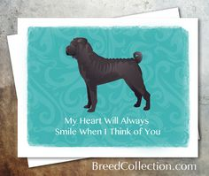 Black Chinese Shar Pei from the TriPodDog Breed Collection - Greetings Collection - Thank You, Get Well, Pet Sympathy and Thinking of You - set of 4