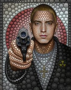 Eminem. Digital Pointillism by Belgian artist Ben Heine Digital Art by Ben Heine, Belgian visual artist. Ben was born in Abidjan, Ivory Coast and currently live and work in Brussels, Belgium
