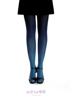 Ombre tights midblue - black