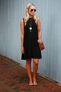 simple black dress with side braid
