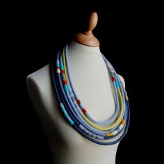 "Textile necklace  by ""Kjoo"" (Maria João Ribeiro).  See too Holst + Lee and. . ."
