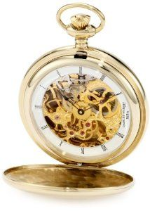 Charles-Hubert, Paris 3905-G Premium Collection Gold-Plated Stainless Steel Polished Finish Double Hunter Case Mechanical Pocket Watch Charles-Hubert, Paris. $216.00