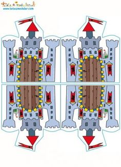 coloriage Carte château fort double à imprimer