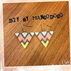 Triangle earrings perler beads by mango_dogo_shop