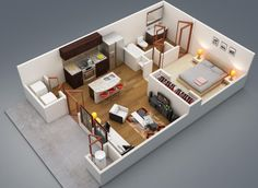 1 bedroom tiny house modern bedroom apartment kendrick homes spring meadows 1 bedroom house One 1 Bedroom Apartment House Plans Ture DesignHouses And Apartments [. One Bedroom House Plans, 1 Bedroom House, 3d House Plans, Apartment Bedroom Decor, Bedroom Floor Plans, Apartment Layout, Small House Plans, Bedroom Furniture, Bedroom Small