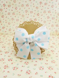 Handmade Boutique Ribbon Hair Bow White Blue Dot Small French Clip # SF002 #Unbranded