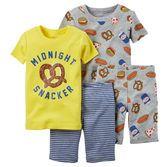 Note: To help keep children safe, cotton pjs should always fit snugly. With fun prints on soft cotton, these 4-piece pjs are perfect for mix-and-matching.