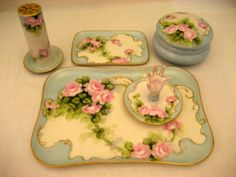 Limoges Bavarian Antique Porcelain Dresser Vanity Set Vintage Roses- check out the ring holder