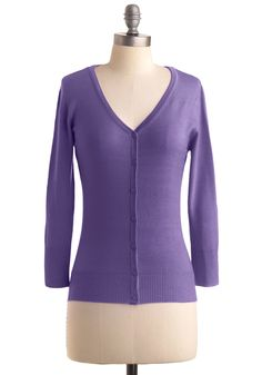 Charter School Cardigan in Orchid - Mid-length, Purple, Solid, Buttons, Long Sleeve, Work