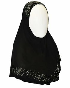 """Black 1 Piece Sparkle Trim Hijab. This lovely hijab has rhinestone embellishments on the forehead and bottom edges to make it shine. The hijab is an easy to wear 1 piece garment, with an over """"hood"""" for the hijab that has a forehead area. It feels silky and light-weight, and is made of 100% polyester. More at http://suliaszone.com/black-1-piece-sparkle-trim-hijab/"""
