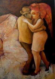 ¨El baile de Mirna con el señor bajito¨ Acrílico sobre tela 50 x 70 cm