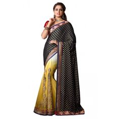 Exquisite Black and Yellow Chiffon #Saree #DesignerSaree #Fashion #Clothing