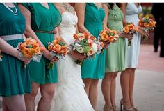 succulents  with orange + teal weddings  Sorry If I'm pinning ones you already have. ITs teal and succulents!