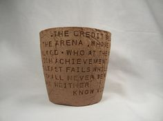 In The Arena ...Theodore Roosevelt Bowl  Brown by BraidwoodPottery
