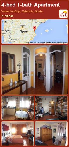 Apartment for Sale in Valencia (City), Valencia, Spain with 4 bedrooms, 1 bathroom - A Spanish Life Valencia City, Valencia Spain, Apartments For Sale, Internal Doors, Carpentry, Layout, Exterior, Mansions