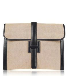 Hermes Toile H & Box Calf Bi-color Jige Over Sized Gm Tan, Navy Clutch $1,780
