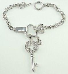 W SWAROVSKI CRYSTAL KEY WITH HEART AND CLOVER NEW CHARM CUTE BRACELET - http://elegant.designerjewelrygalleria.com/swarovski/w-swarovski-crystal-key-with-heart-and-clover-new-charm-cute-bracelet/