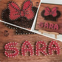 """Check Out Our Latest Artwork ☺ Mention Someone Who's Name Is """"Sara"""" In The Comments Section And Let Them Know How Special They Are  #Sara #Sarah #MinnieMouse #Minnie #BowTie #Cartoon #Disney #WaltDisney #DisneyWorld #Anime #Red #Girl #Wood #Strings #StringArt #Handmade #Art #Artwork #Qatar #Doha #Jordan #Amman"""