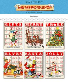 Digital Christmas Bingo Cards/ Santa and his Elves / 5